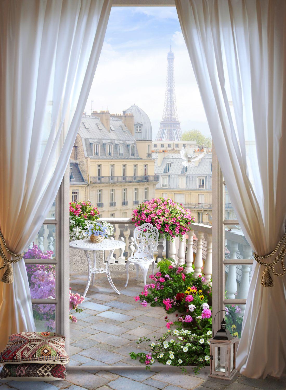 Фотообои «Балкон с цветами»