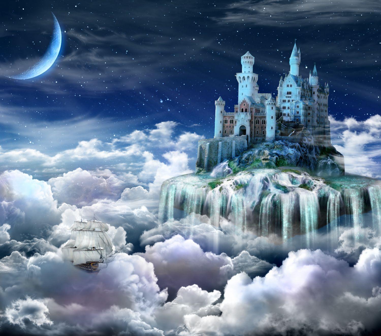 Фотообои «Замок в облаках, ночь»