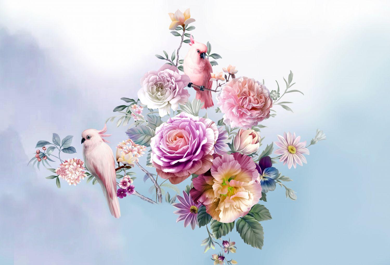 Фотообои «Попугаи в цветах»