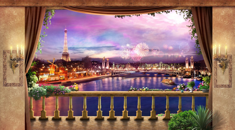 Фотообои «Вечер в Париже, фейерверк»