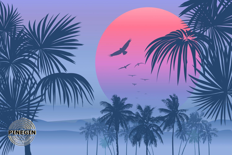 Фотообои «Закат среди пальм»