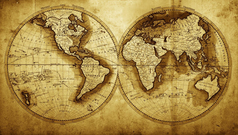 Фотообои «Карта мира состаренная»