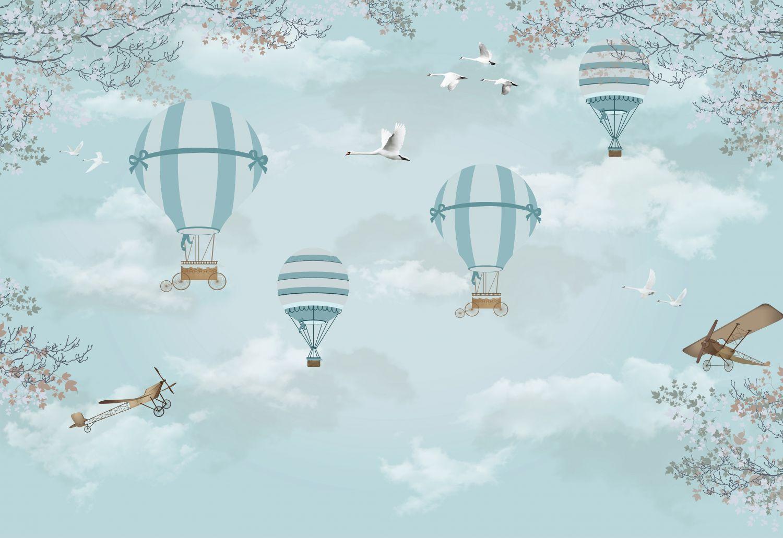 Фотообои «Воздушные шары и лебеди»
