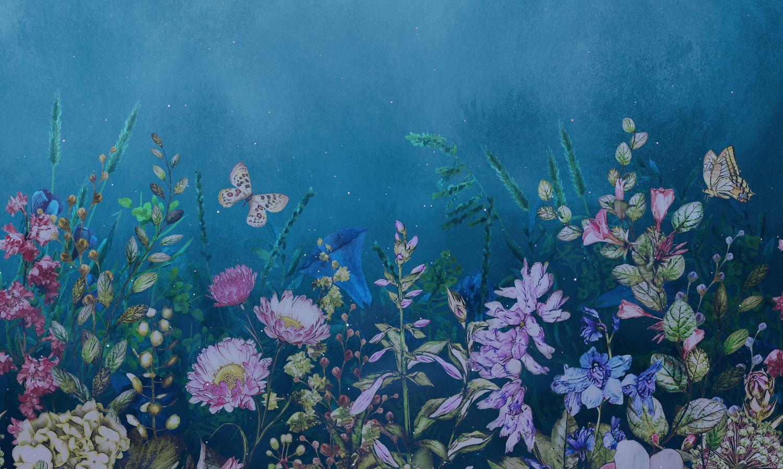 Фотообои «Полевые цветы под звездным небом»
