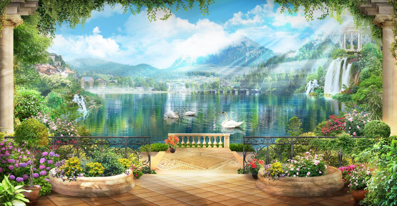 Фотообои «Терраса с видом на горы»