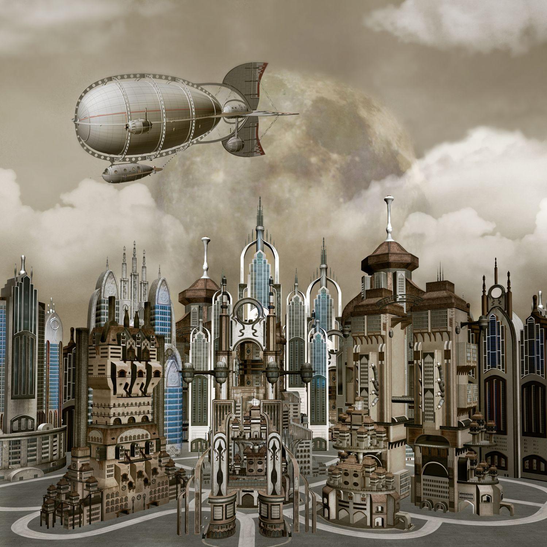 Фотообои «Дирижабль над городом»