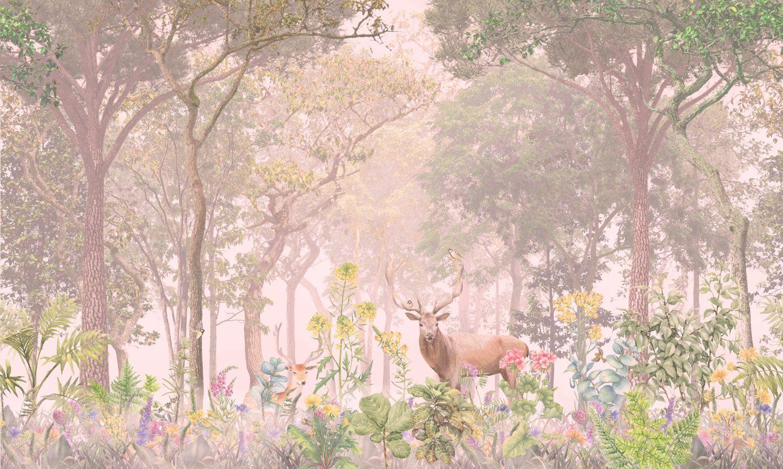 Фотообои «Олень в лесу ч/б »