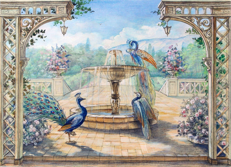 Фотообои «Павлины и фонтан»