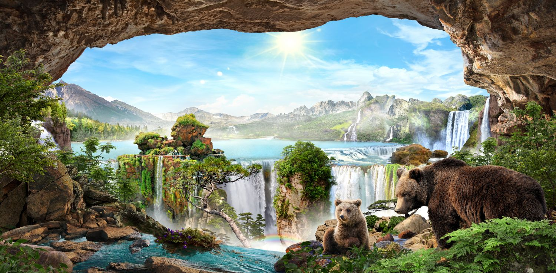 Фотообои «Панорама с водопадами »