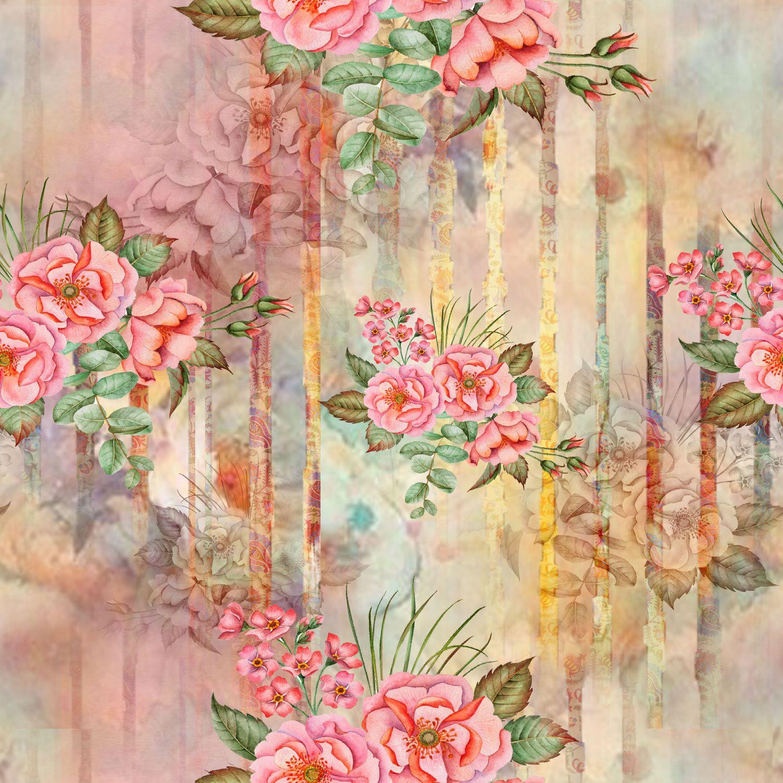Фрески «Винтажная акварель с розами»