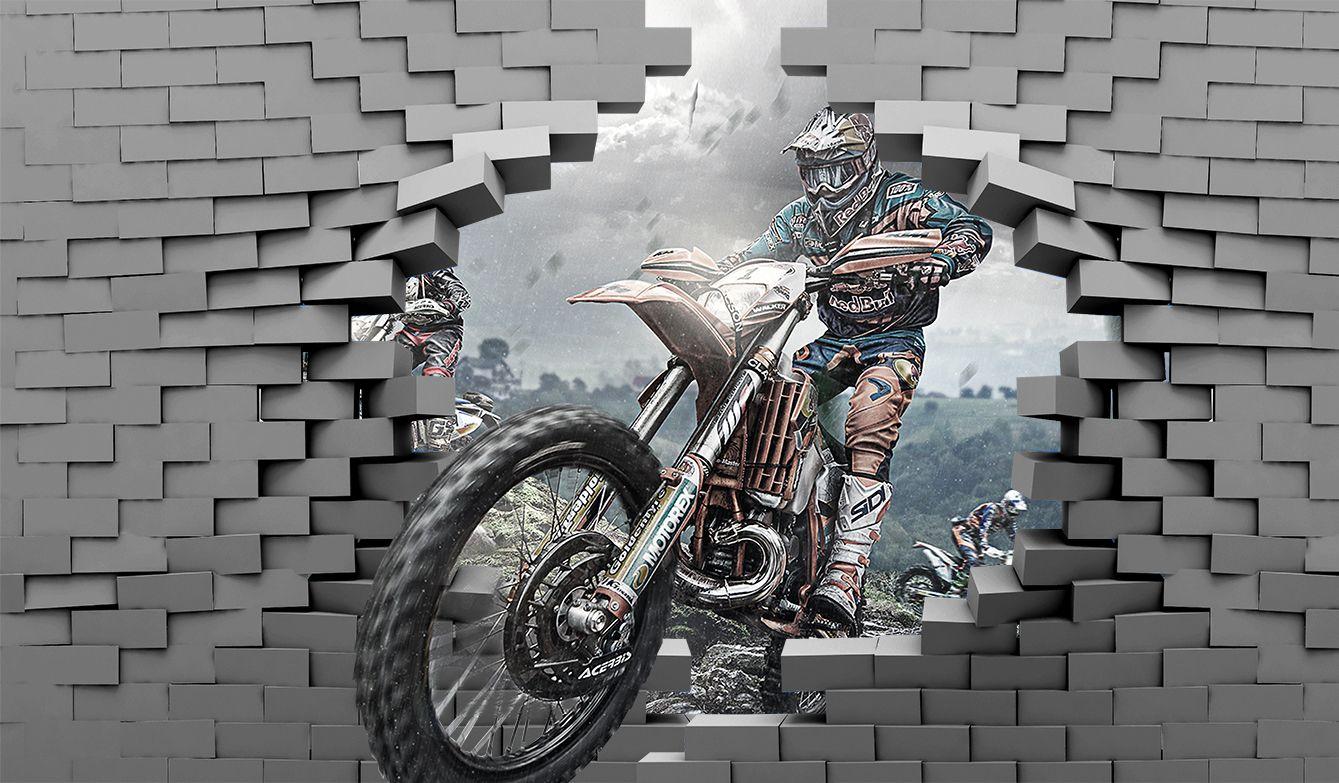Фотообои «Мотоцикл пробивает стену»
