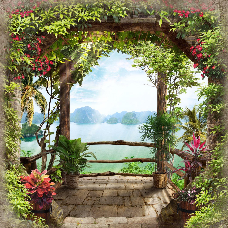 Фотообои «Балкон с кустарниками»