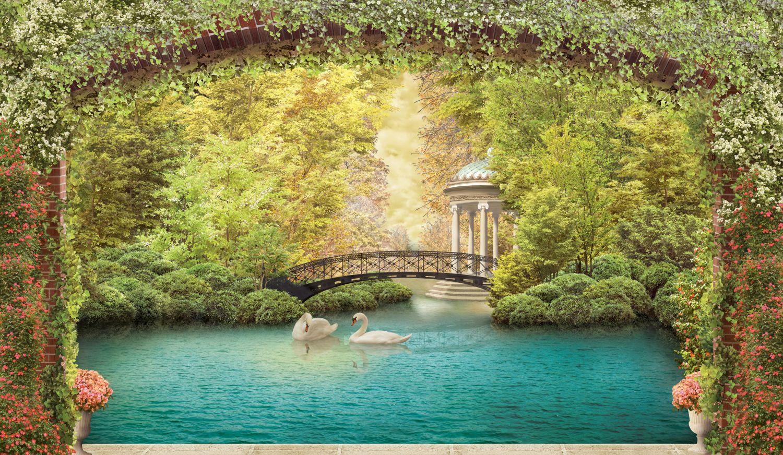 Фрески «Белые лебеди в пруду»