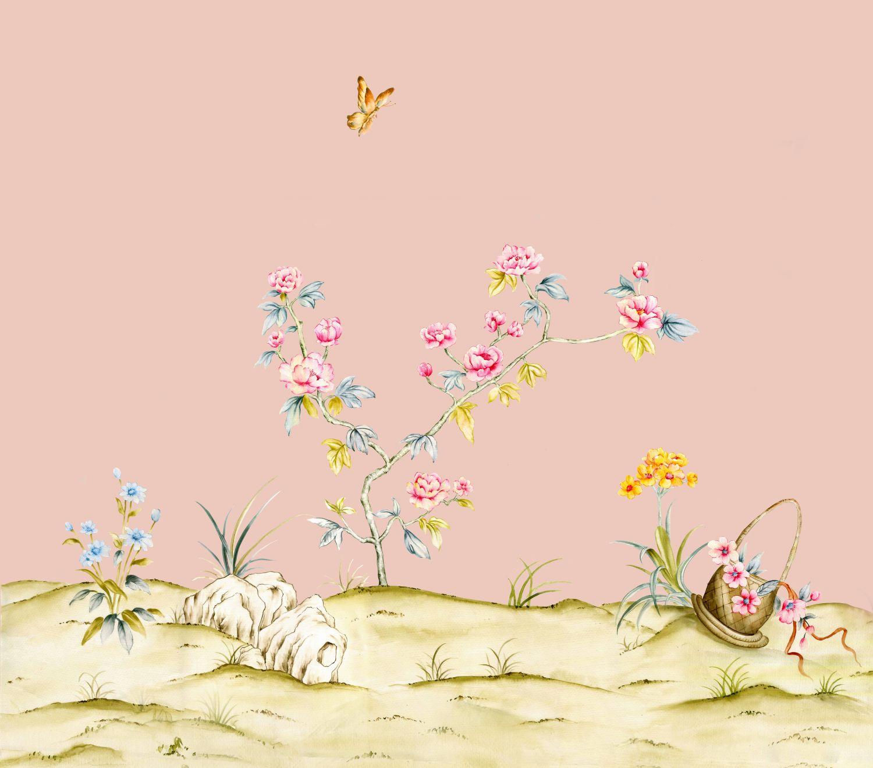 Фотообои «Шинуазри розовая пыль»