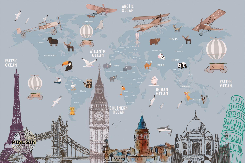 Фотообои «Карта мира детская»