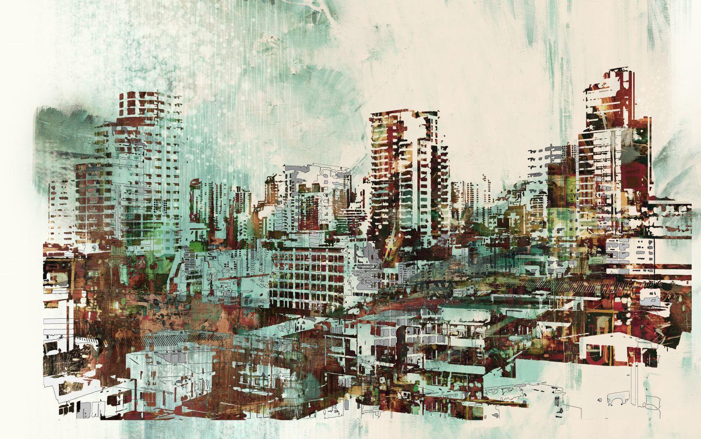 Фотообои «Город в стиле Гранж»