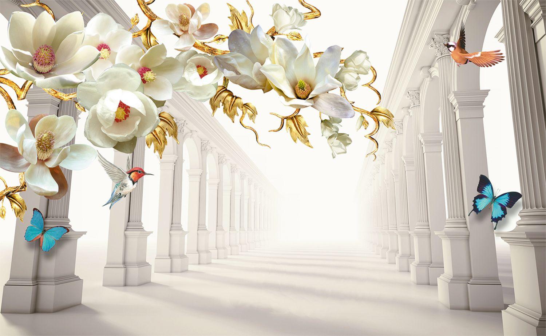 Фотообои «Ветка орхидей над коллонадой 3D»