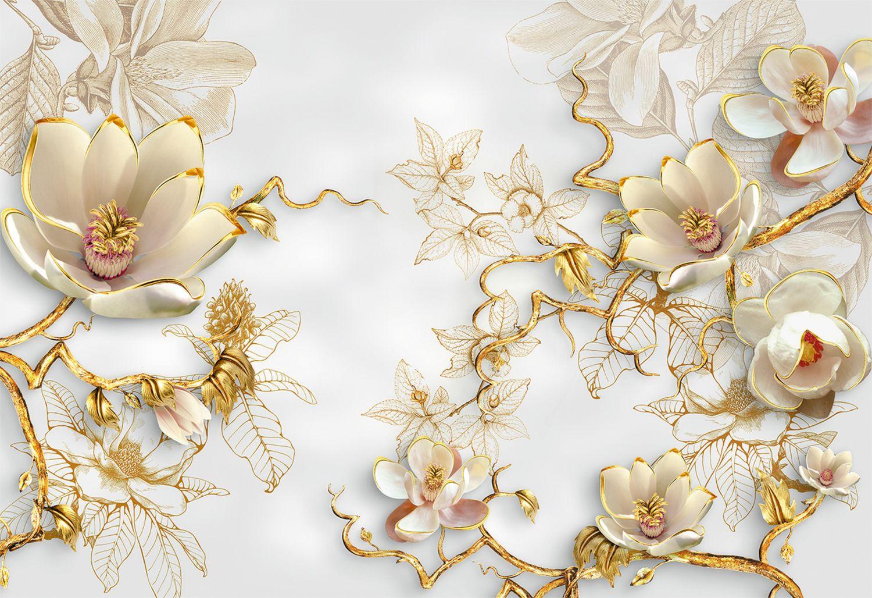 Фотообои «3D цветы с золотистой окантовкой»
