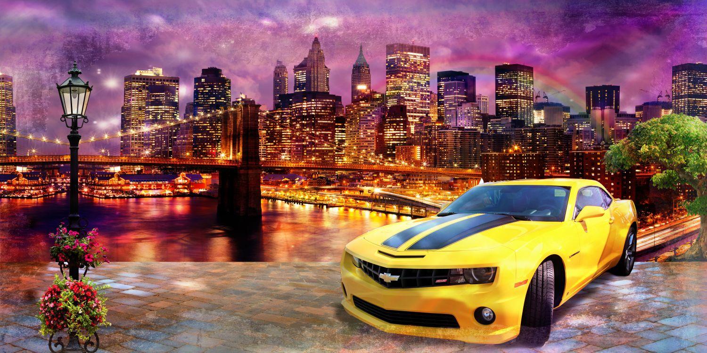 Фотообои «Желтая машина на фоне яркого города»