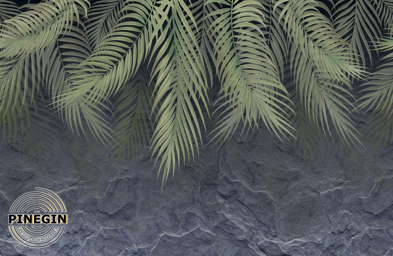 Фотообои «Пальмовые листья на камне»
