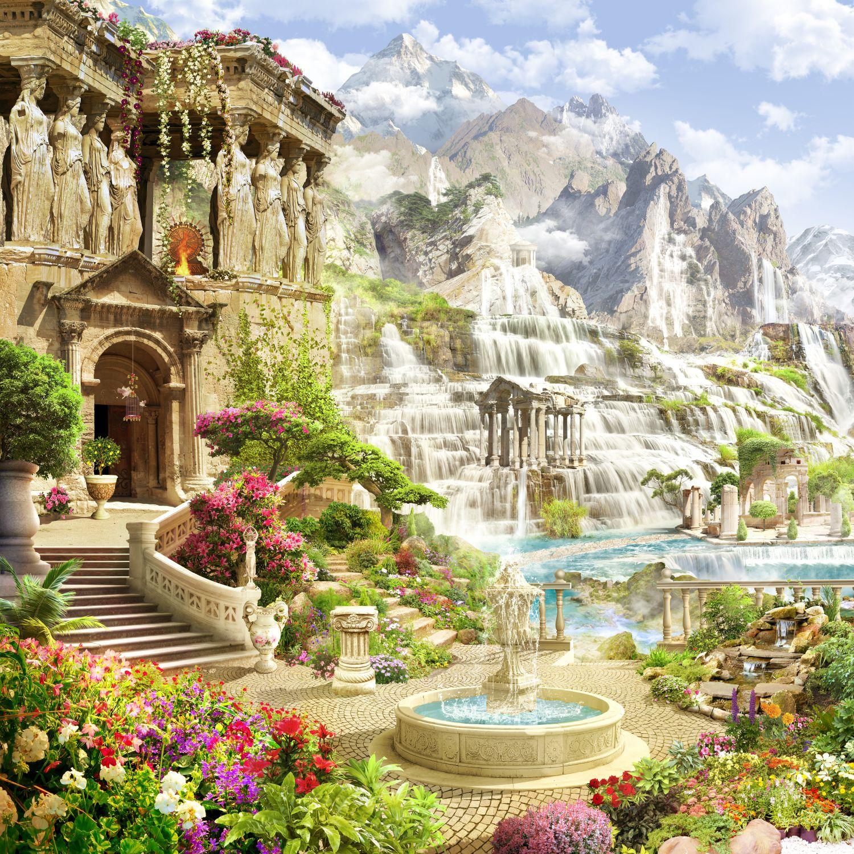 Фотообои «Водопады и колонны»