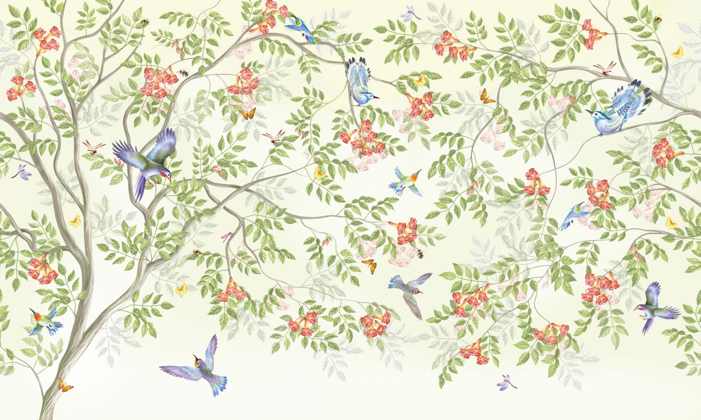 Фотообои «Дерево цветов кампсис»